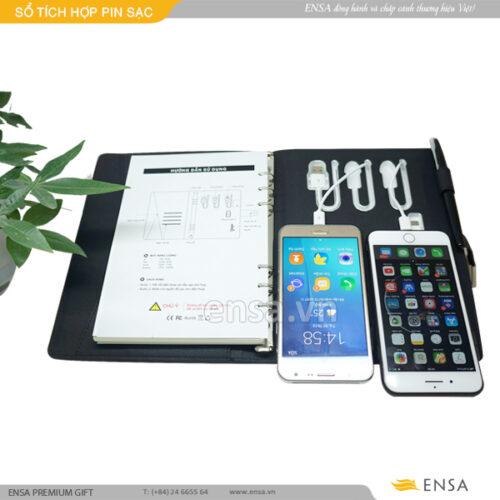 sổ tích hợp pin sạc, sổ sạc được pin điện thoại, quà tăng sổ sạc pin